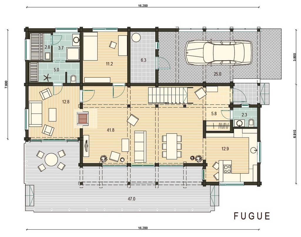 Blockhaus Fugue Grundrissplan EG