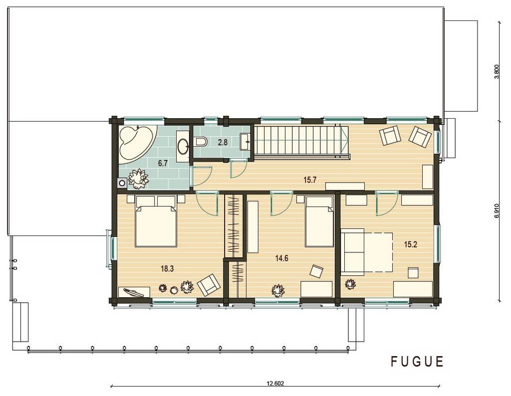 Blockhaus Fugue Grundrissplan OG