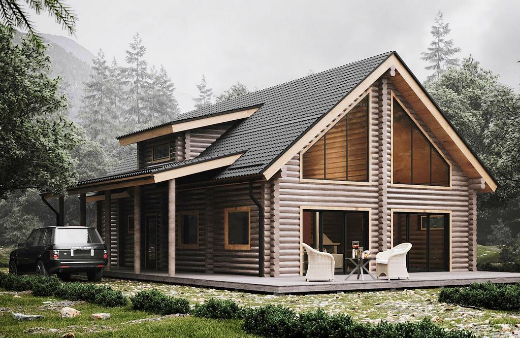 zweistöckiges Blockhaus Modell Helen 162,9 qm