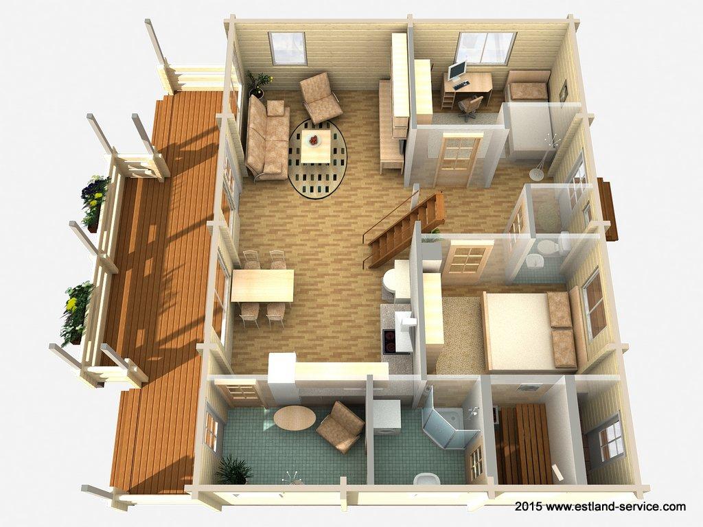 Zweistöckiges Blockhaus Modell Hommik