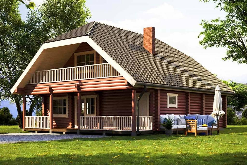 Traditionelles Blockhaus Metsla Aussenansicht