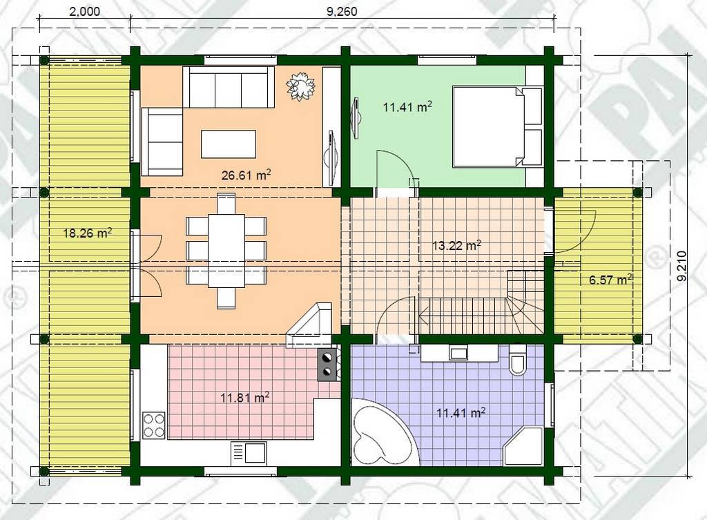Holz Landhaus Milla Grundrissplan EG
