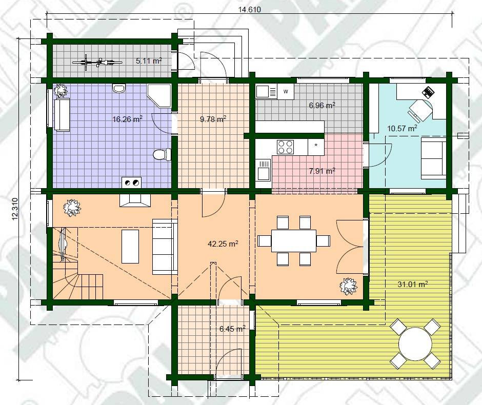 Blockhaus Gert Grundrissplan-Erdgeschoss