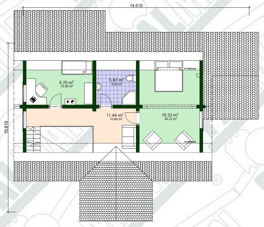 Blockhaus Gert Grundrissplan-Obergeschoss
