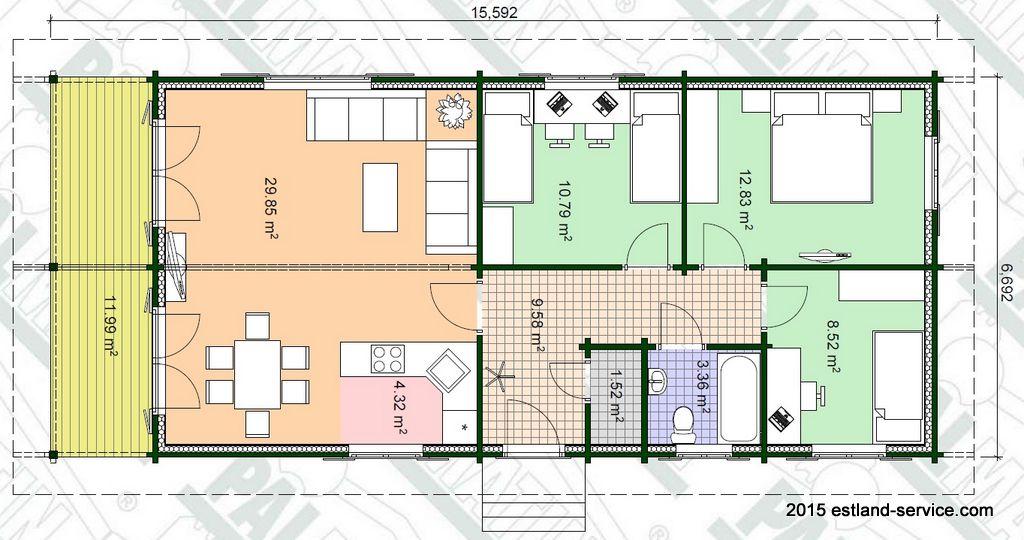 kompaktes Blockhaus Renni - Grundrissplan