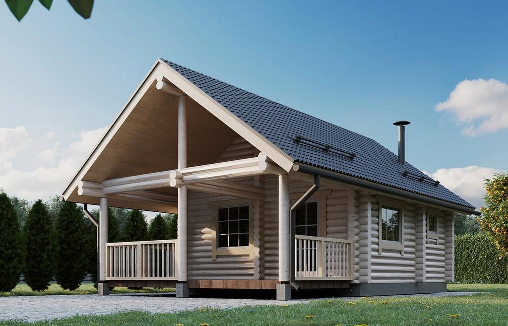 Rundholz Blockhaus Sauna Aussenansicht