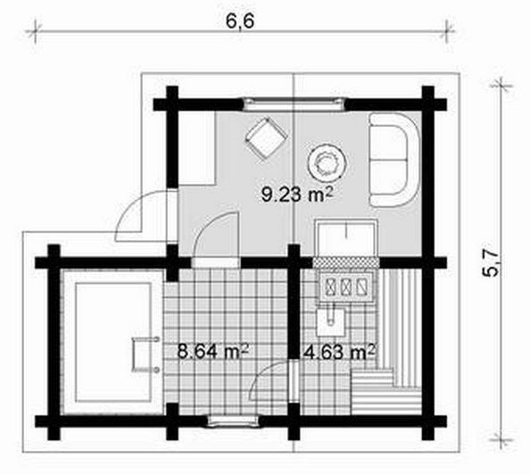 Blockhaus Sauna Aleks Grundriss