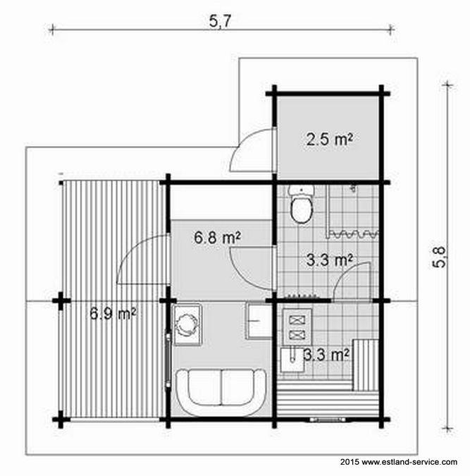 Blockhaus Sauna Modell Siim Grundriss