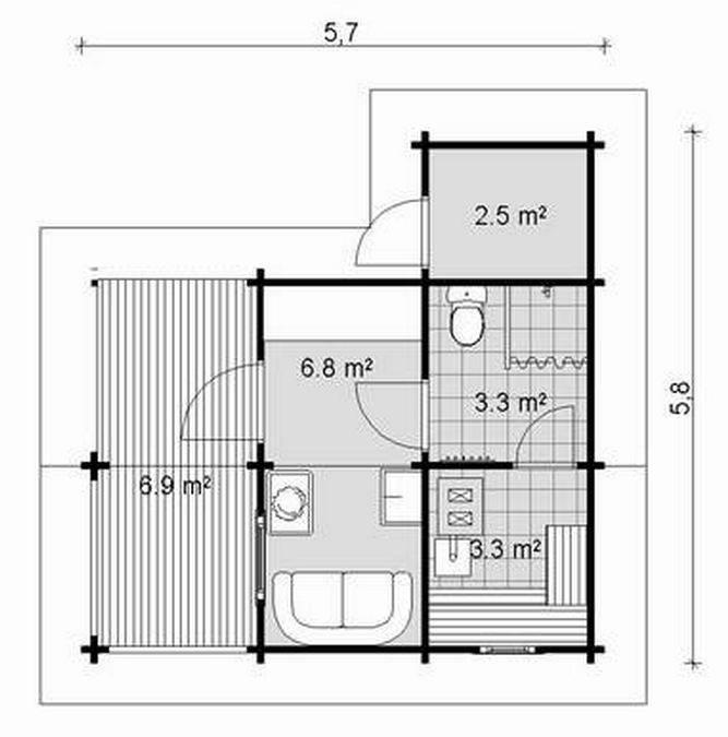 estnische Blockhaus Sauna Siim Grundrissplan