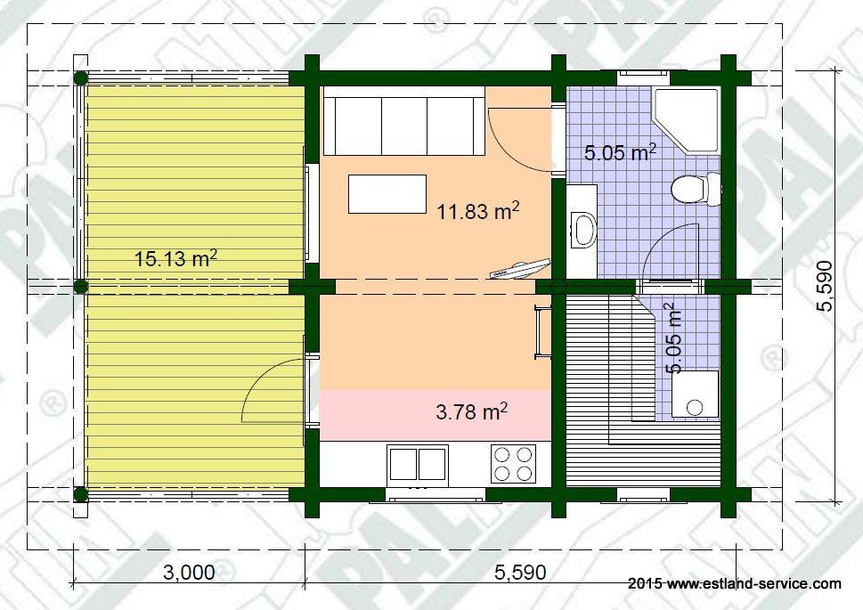 Rundholz Blockhaus Sauna Modell Tiit Grundrissplan EG