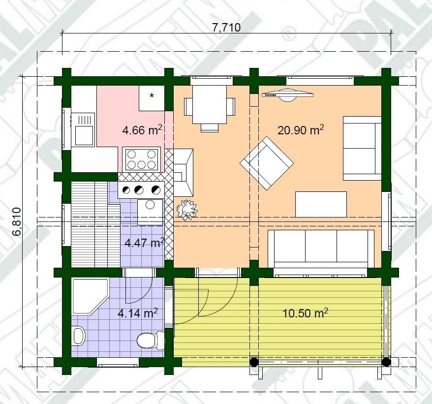 Sommer-Blockhaus Sauna Pille Grundrissplan