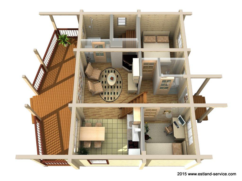 estnisches Blockhaus Modell Sinilill EG