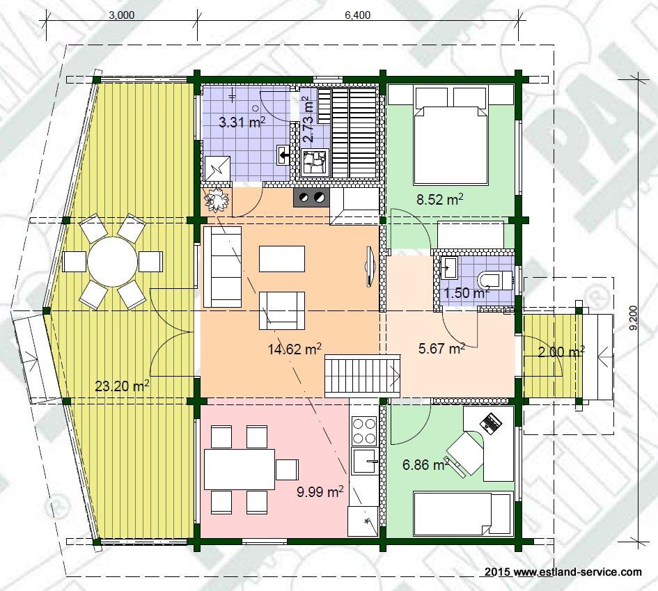 estnisches Blockhaus Modell Sinilill EG Grundriss