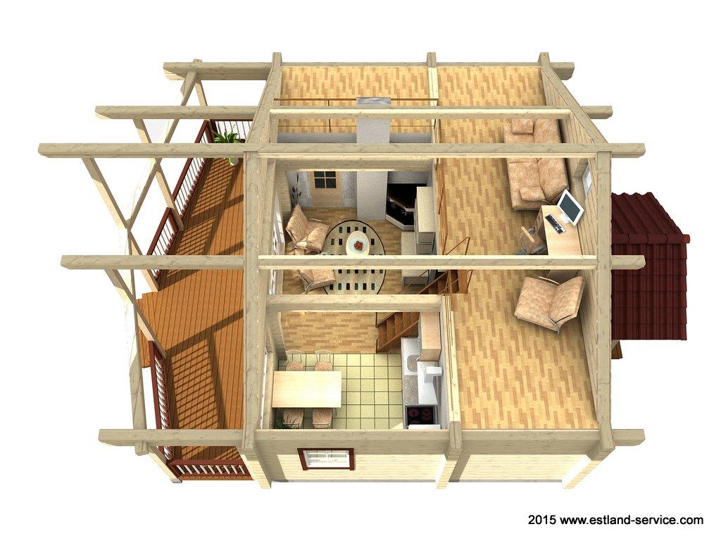 estnisches Blockhaus Modell Sinilill OG