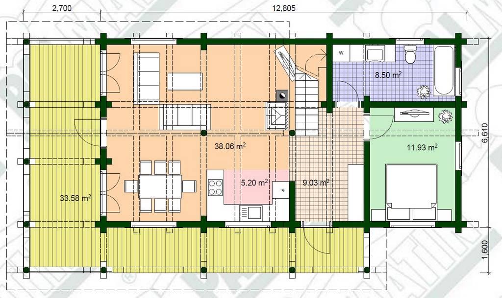 Estnisches Blockhaus Urmas Grundriss Plan EG
