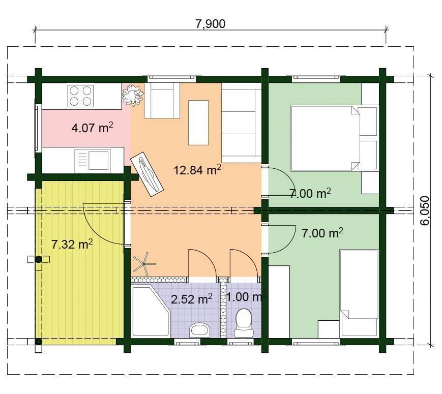 Camping Gartenhaus 2 Grundriss