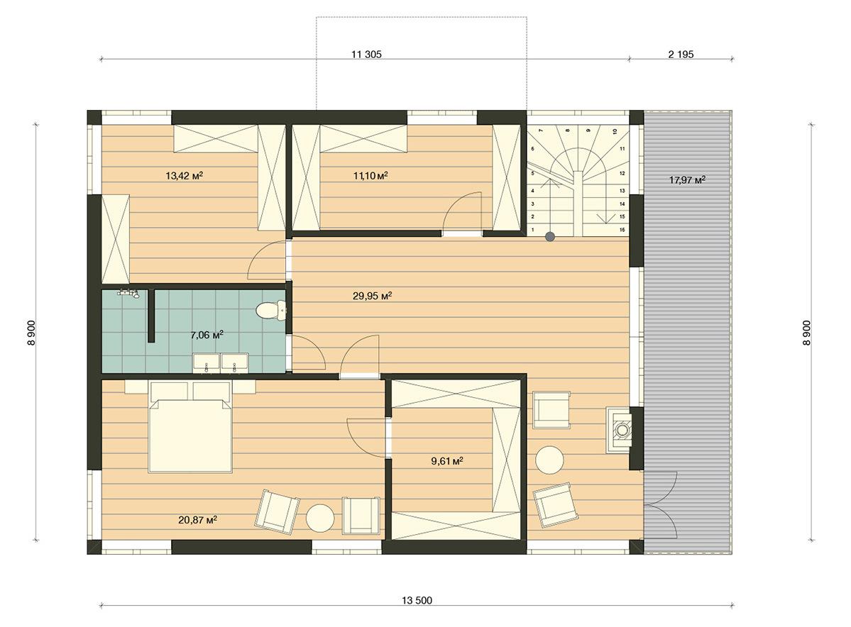 Element Haus Modell Germany 4 Grundriss OG