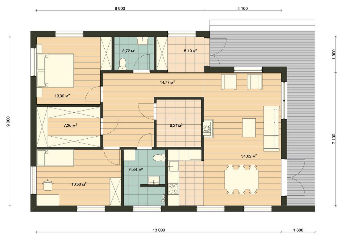 Element Haus Modell Germany 1 Grundriss