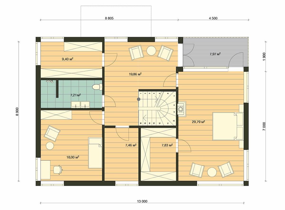 Element Haus Modell Germany 3 Grundriss OG