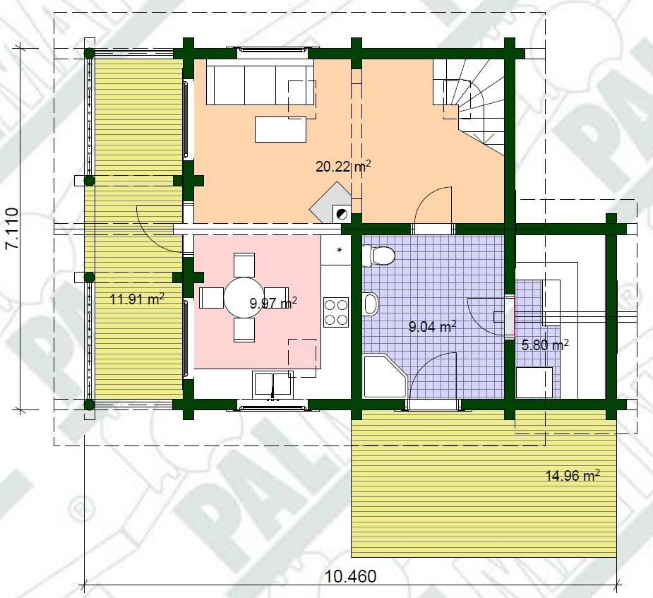 Ferien Blockhaus Riho Grundrissplan EG