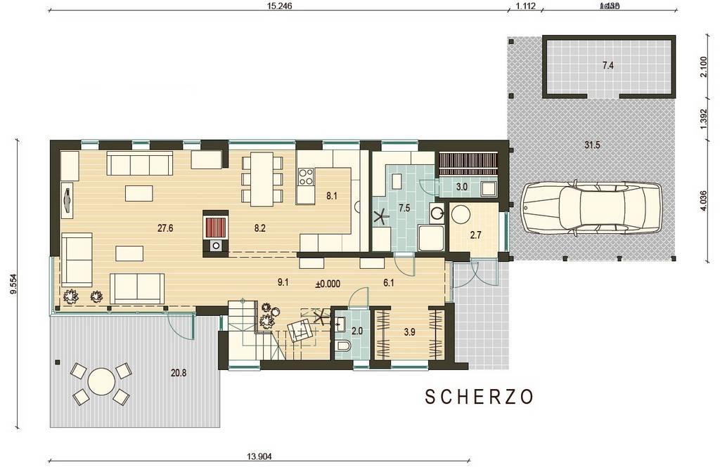 Holz - Landhaus Scherzo eg grundrissplan