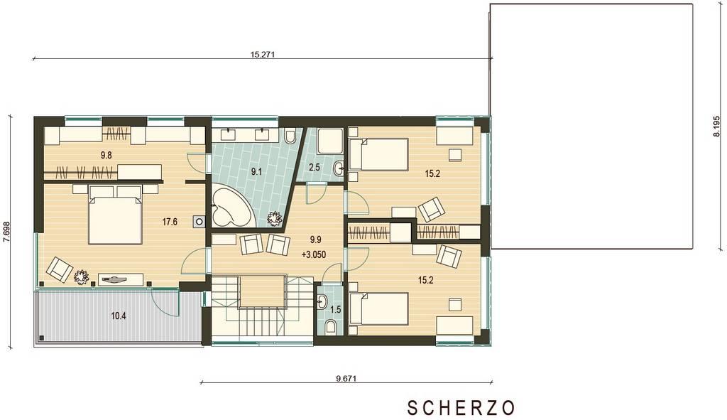 Holz - Landhaus Scherzo og  grundrissplan