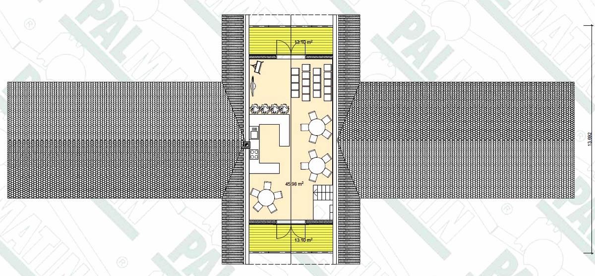 Blockhaus Motel mit Restaurant Grundriss OG