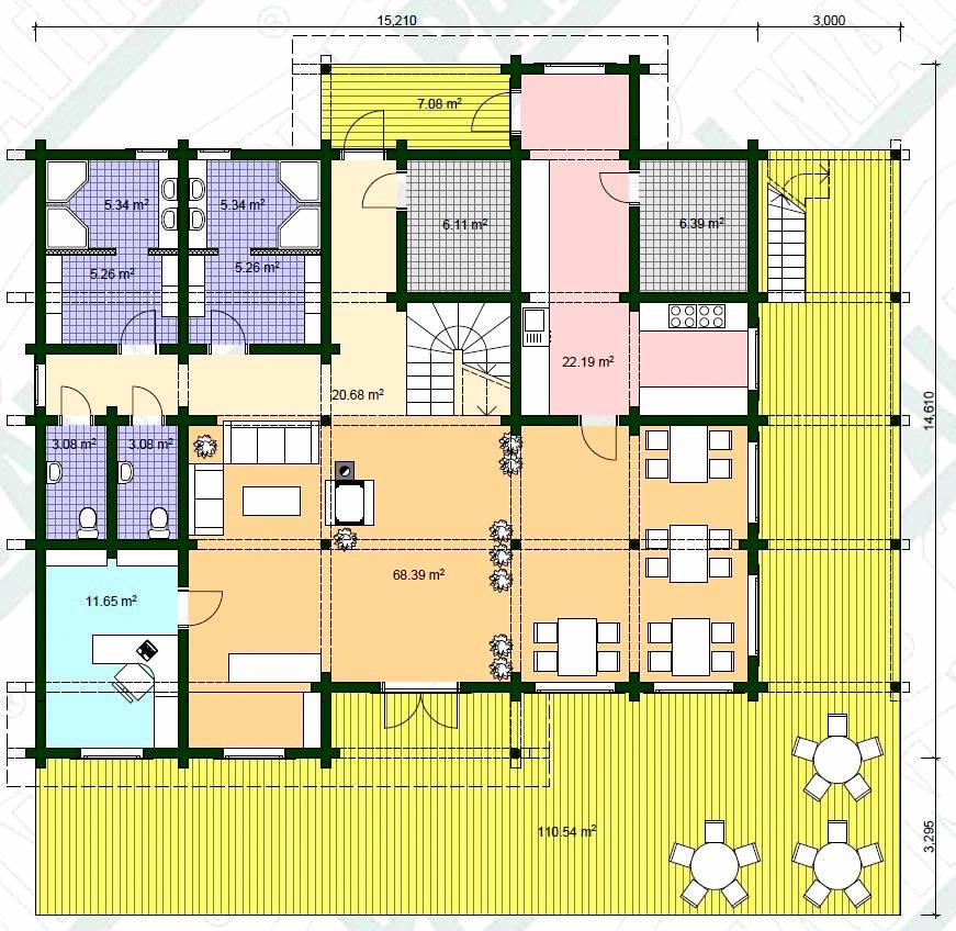 Blockhaus Vereinsheim Modell Villu Grundriss EG