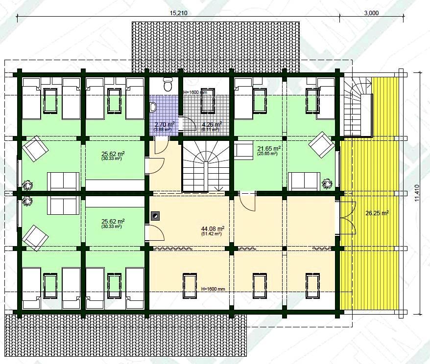 Blockhaus Vereinsheim Modell Villu Grundriss OG