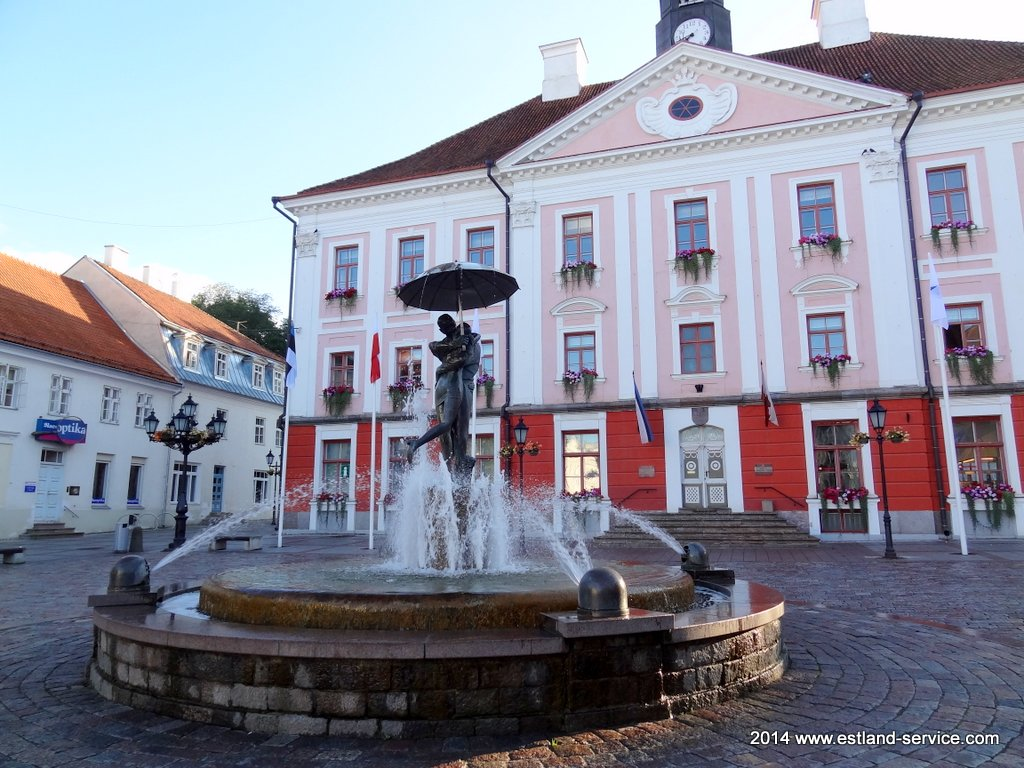 The Kissing Students fountain in Tartu