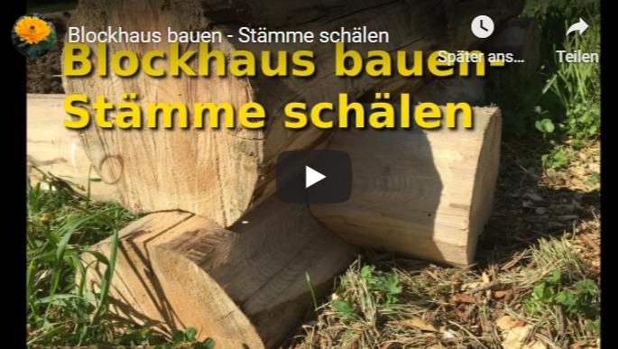 Blockhaus selbst bauen - Stämme schälen